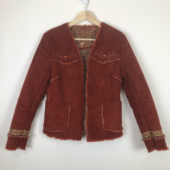 Express Jackets & Blazers - EXPRESS FAUX SEUDE EMBROIDERY JACKET S